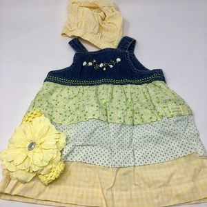 Jean embroidered Dress with headband size 9mo